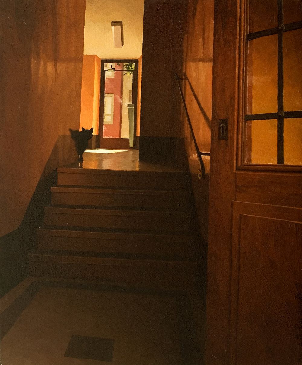 A building entrance hall with cat