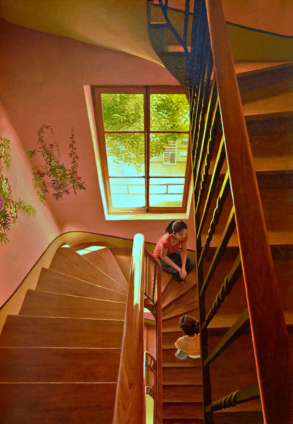 Stairwell cage with flower murals