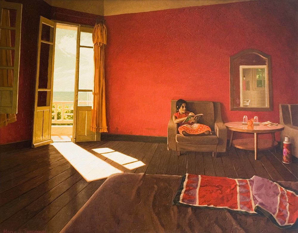 Hotel room with red walls