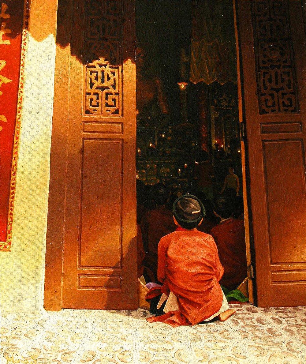 Afternoon prayer in Quan Su, Hanoi
