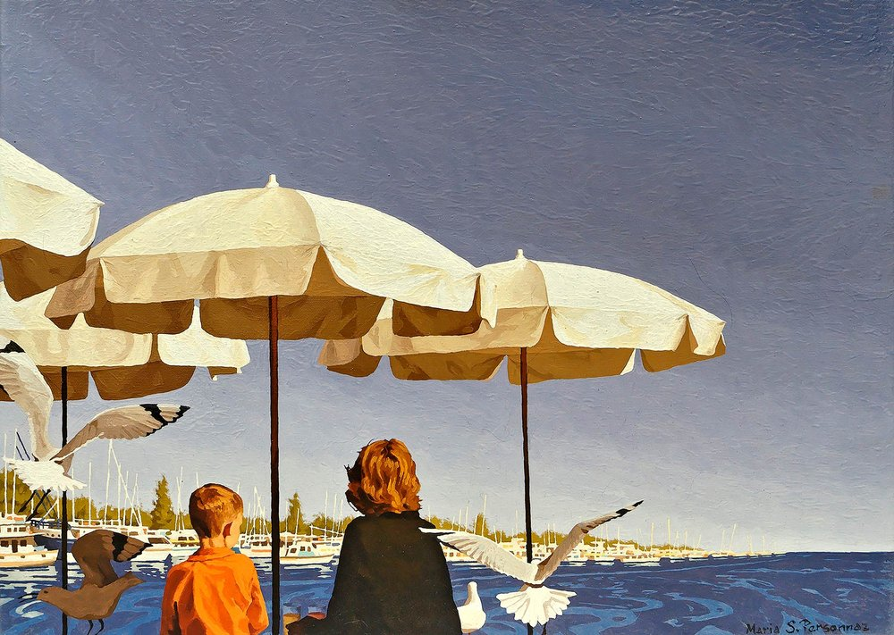 Seagulls and white parasols, Australia