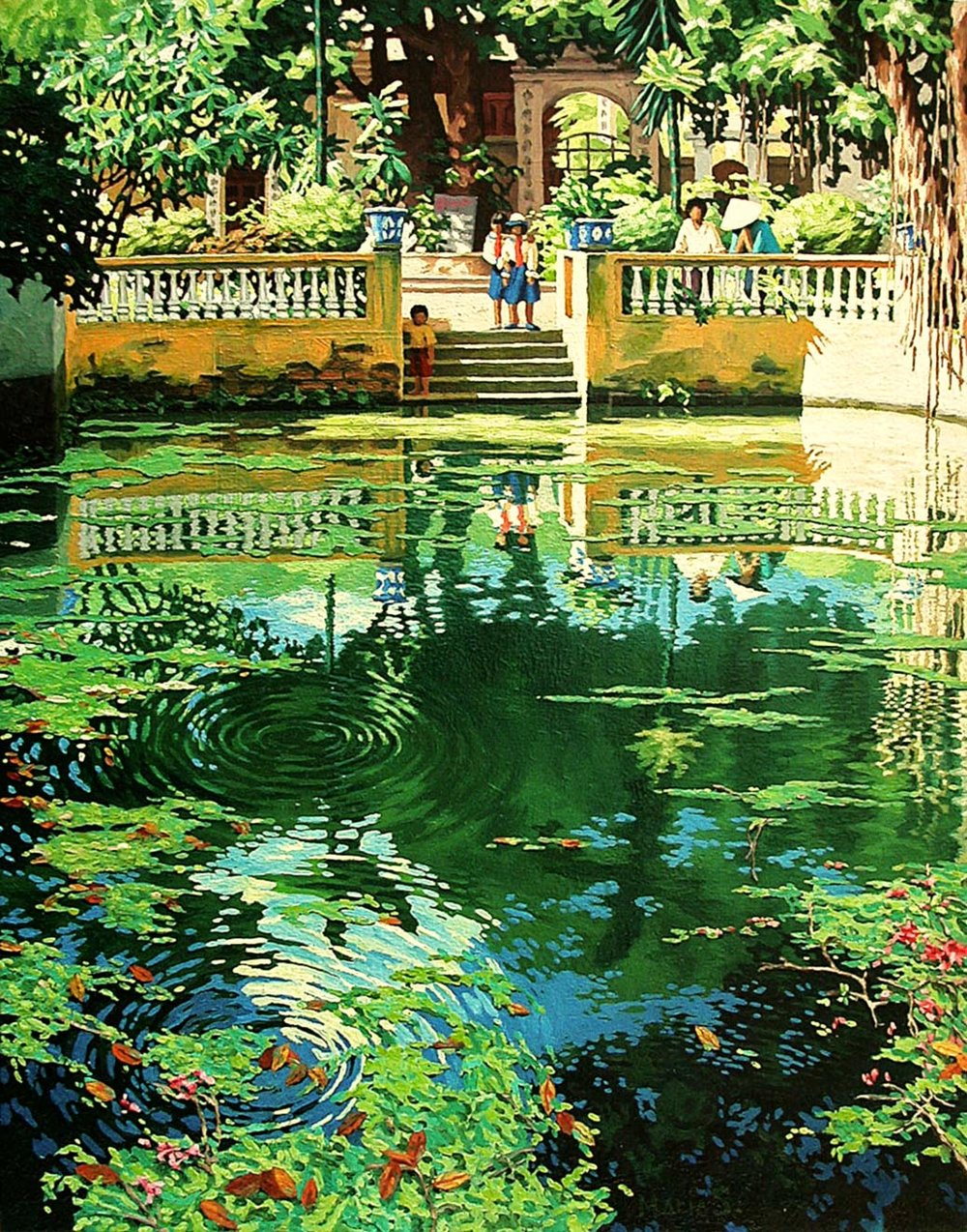 The pond in front of Công Vi's temple, Hanoi