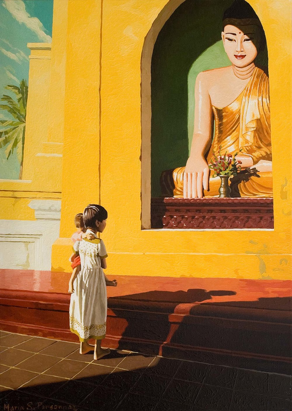 Two children and the Buddha, Yangon