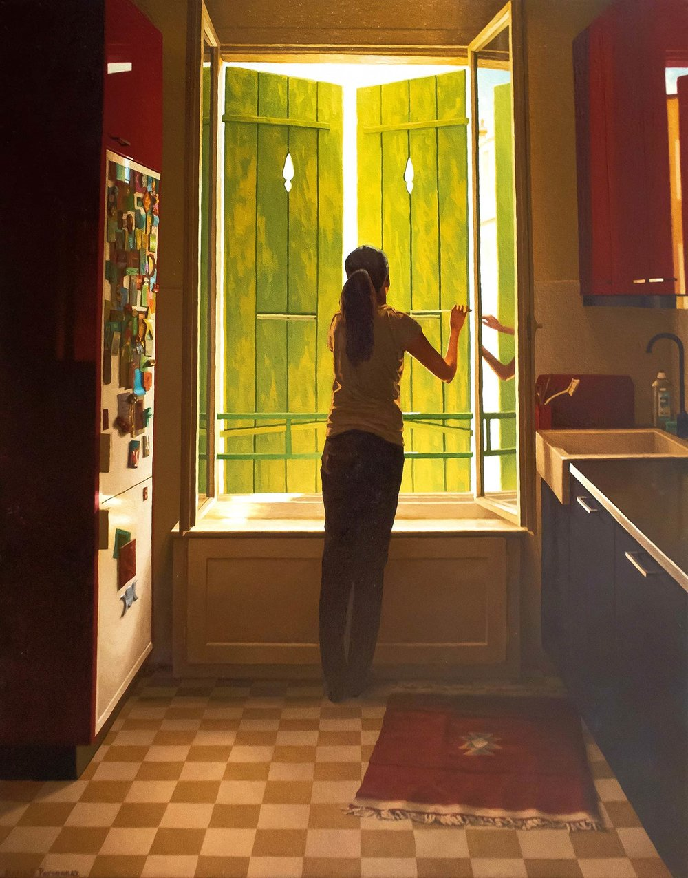 The green shutters of the kitchen