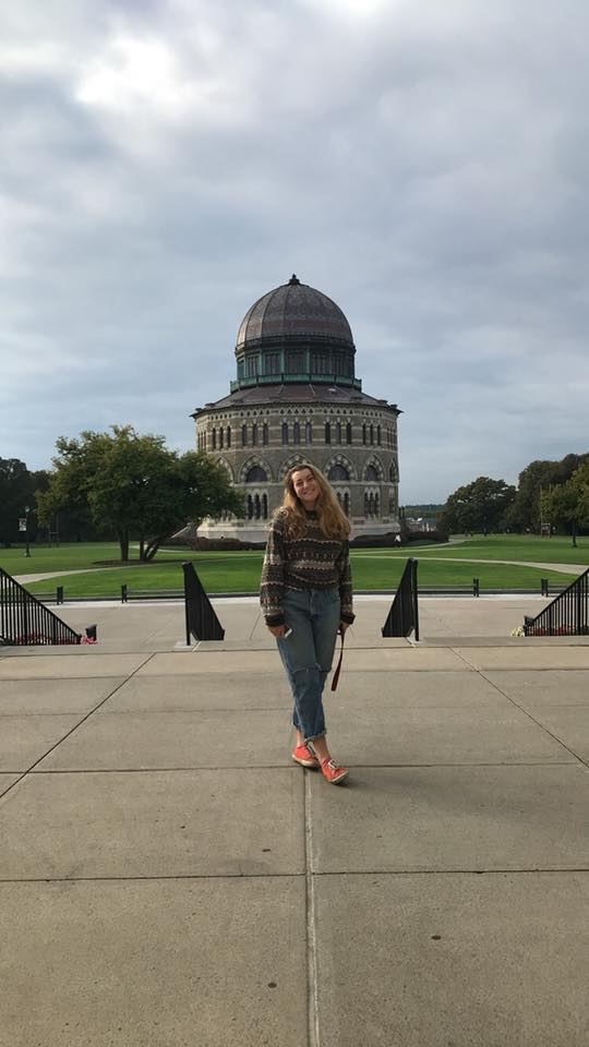 Me hanging out in front of the Nott Memorial, a historic Schenectady landmark. Photo Credit: Mallory Mrozinski, 2018.