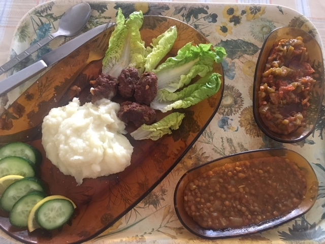 Lunch by my host mom comprised of kefta (meatballs) and her insanely delicious potato purée (better than mashed potatoes - yes that's possible)! Photo credit: Mallory Mrozinski, 2018