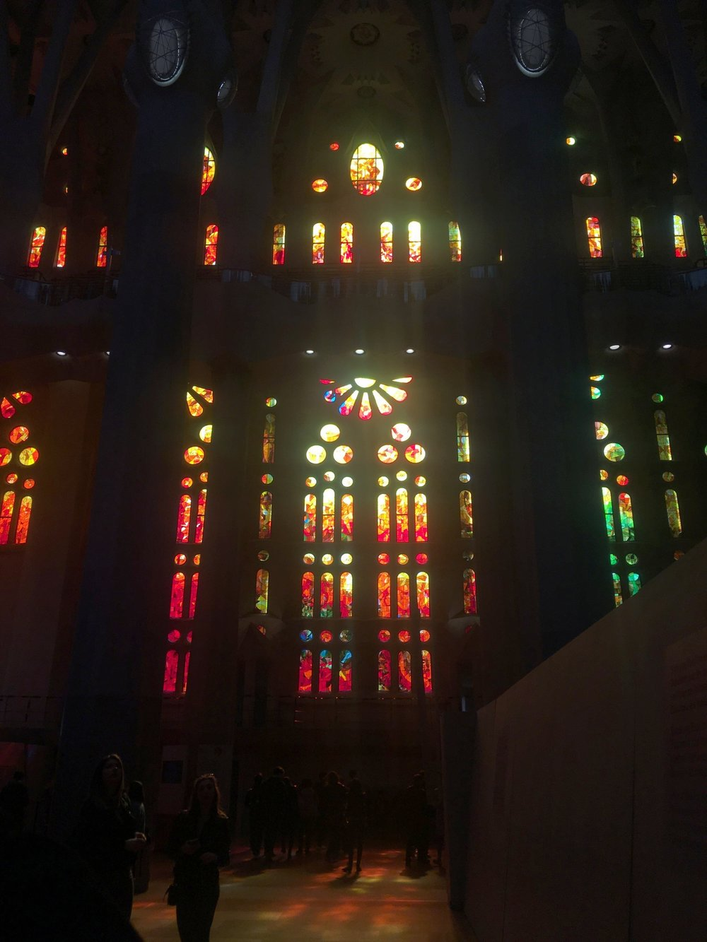 The inside of the Sagrada Familia: Warm, Colorful, and Not at All Intimidating! Photo Credit: Mallory Mrozinski, Spring 2018.