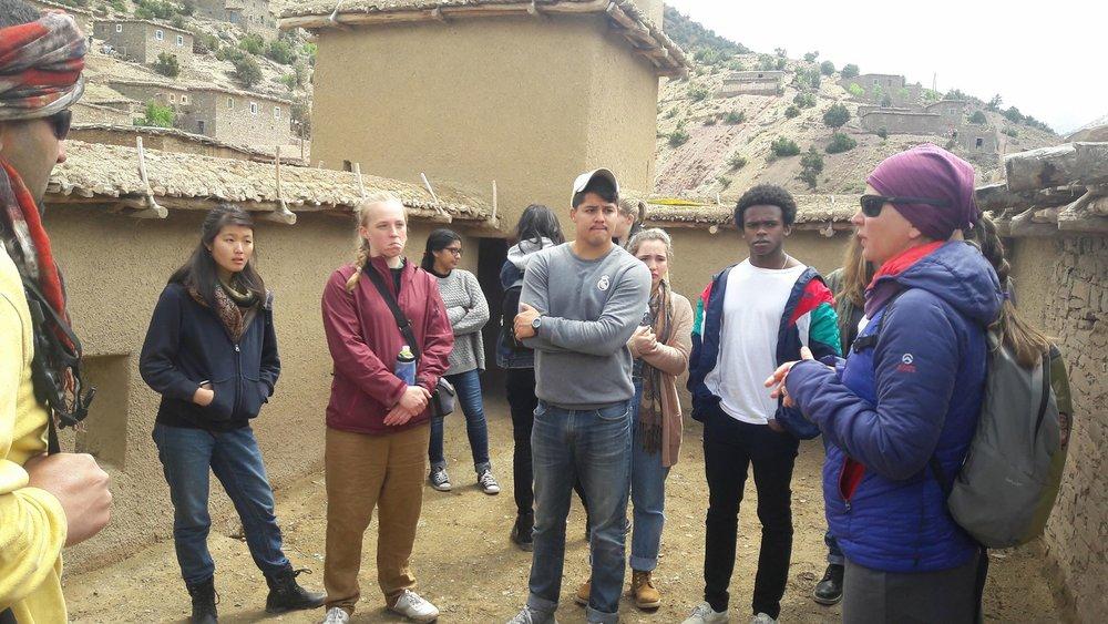 Cloe Erickson, the president of the Atlas Cultural Foundation, outlines the regional history of Zaouiat Ahansal. Photo credit: Nabila Jaber, 2018