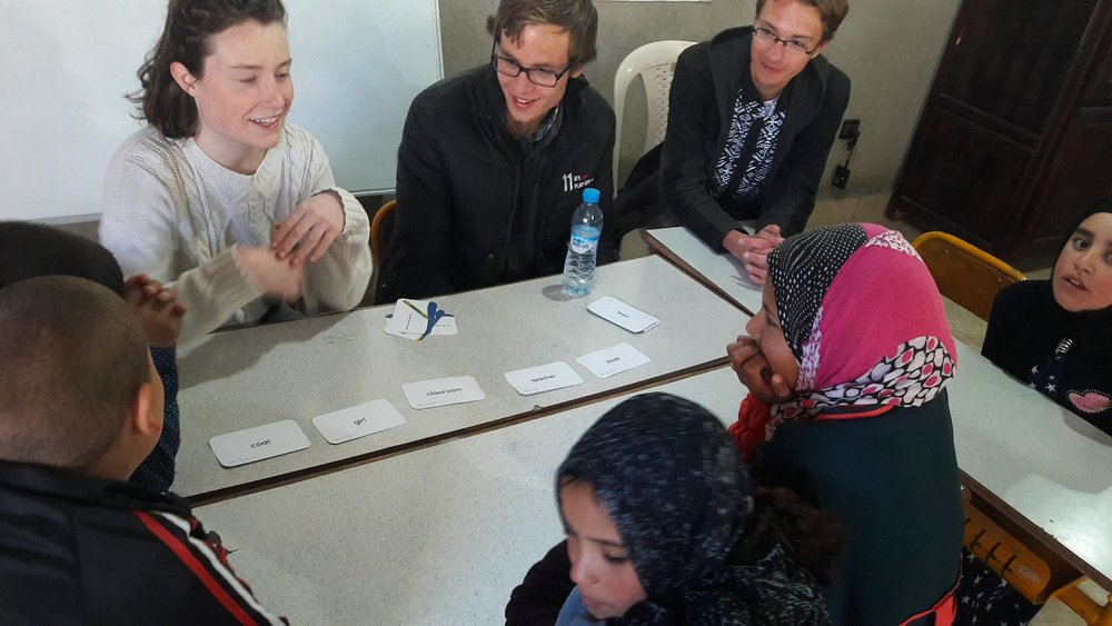 AMIDEAST students lead tutoring program activities in the village of Amezray. Photo credit: Nabila Jaber, 2018