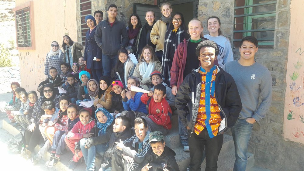 AMIDEAST & Atlas Cultural Foundation students in the village of Aguddim. Photo credit: Nabila Jaber, 2018