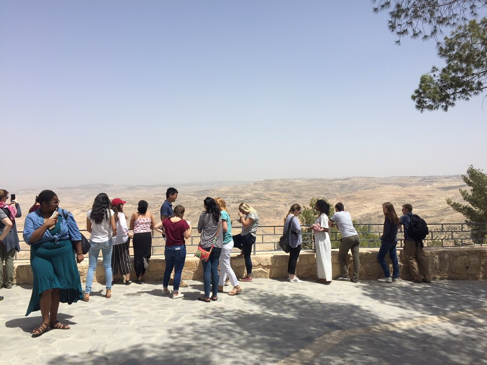 Spring 2018 students enjoy the view from Mount Nebo, where on a clear day, you can see the Jordan Valley and Jerusalem.
