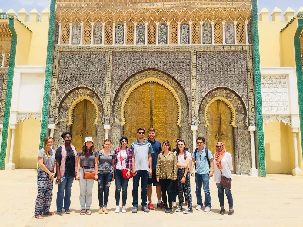 Students posing in front of the Royal Palace of Fez. Photo credit: AMIDEAST