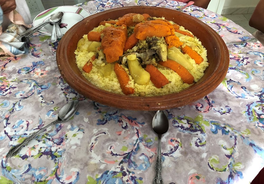 The couscous meal my host mom prepared for our traditional, giant couscous lunch. Photo credit: Szabo, 2018