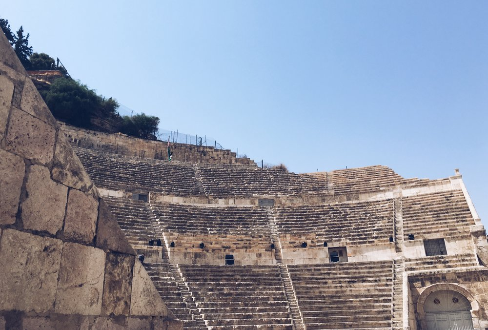 Touring the Roman Amphitheater by Day. Photo credit: L. McGuire, 2018