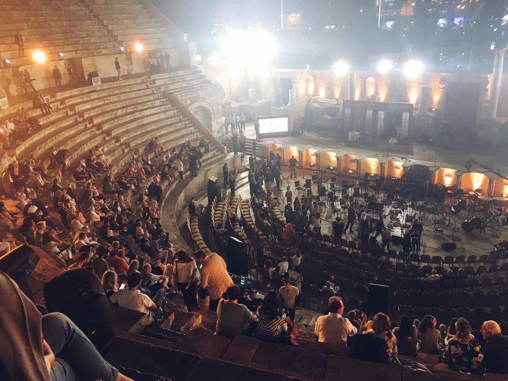 Watching the Opera  La Bohéme  at Amman's Roman Amphitheater. Photo credit: L. McGuire, 2018