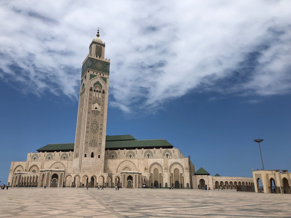 The Hassan II Mosque is an element of great pride for many Moroccans. It is an enormous piece of architecture, and one of the most notable places to visit in Casablanca as it is the largest mosque in Morocco. On our first weekend in Morocco, our group traveled to Casa and was extremely excited to visit the well-known destination. Upon walking up to the mosque, I was in awe of its size. It stood in contrast against the bright blue sky and every single detail of the mosque was intricate and beautiful. I was told that it was the only mosque non-Muslims could go into in Morocco, so touring this place felt like a great privilege as a non-Muslim American. Photo Credit: K. Meacham, Fall 2018