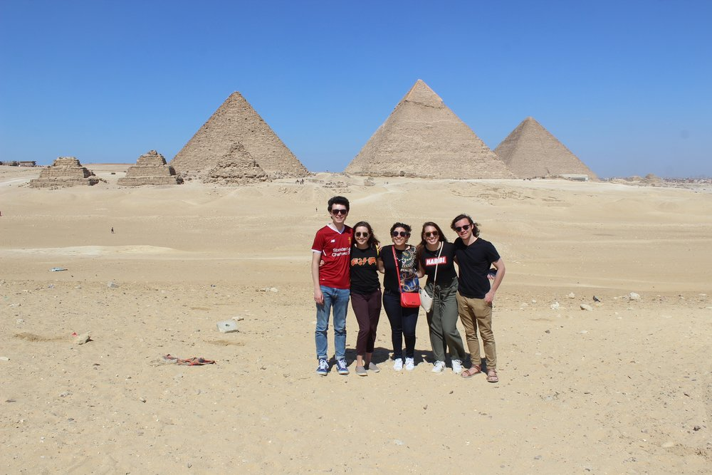 Our group in front of the pyramids. Photo credit: Arguin, 2019