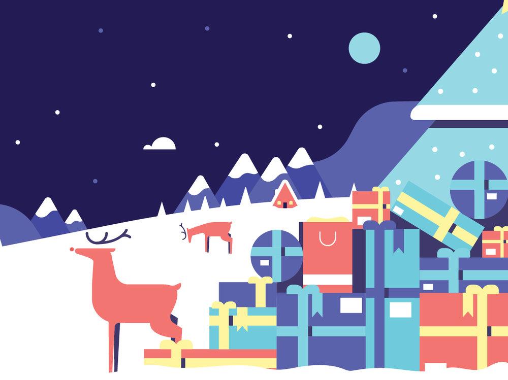 Christmas Scene, Indigo Slate