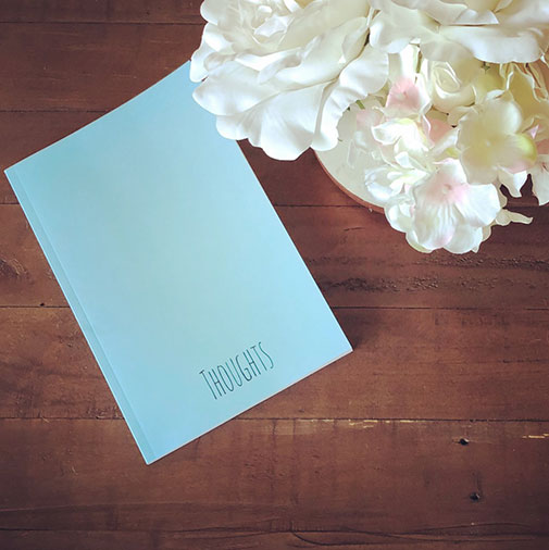 Mint colored 6in by 9in notebook to jot down your thoughts.