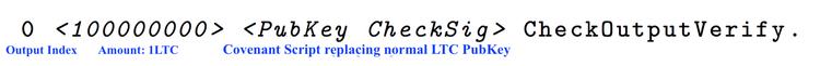 Podstawowy schemat wyjściowy Convenats - od lewej : wyjściowy index, ilość LTC, Convenant skrypt zastępujący normalny PubKey LTC.