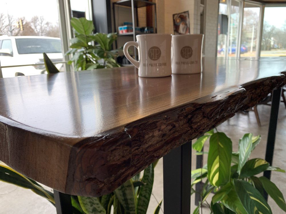 Sangamon Reclaimed Live Edge Table at Free Press Coffeehouse Springfield Illinois 2 Photo by Gem PR & Media.JPG