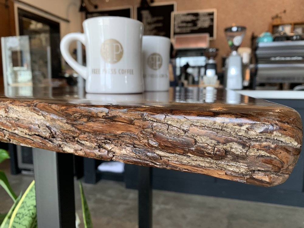 Sangamon Reclaimed Live Edge Table at Free Press Coffeehouse Springfield Illinois Photo by Gem PR & Media.JPG
