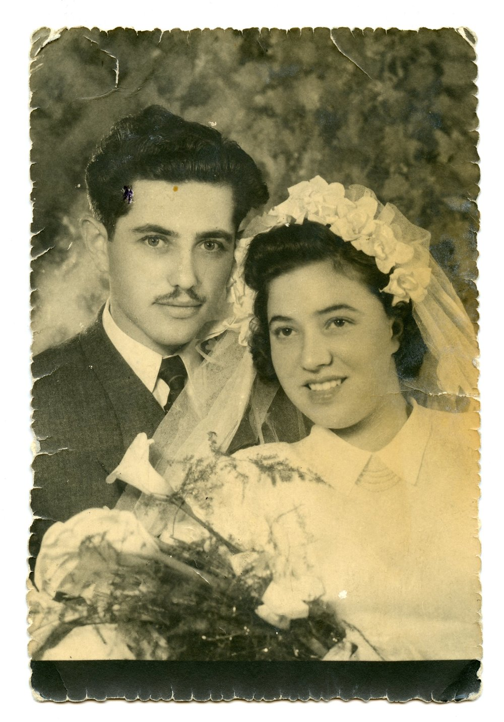 Copy of February 19, 1952 Aron (21) and Cipora (18) married in Beit Shan, Israel