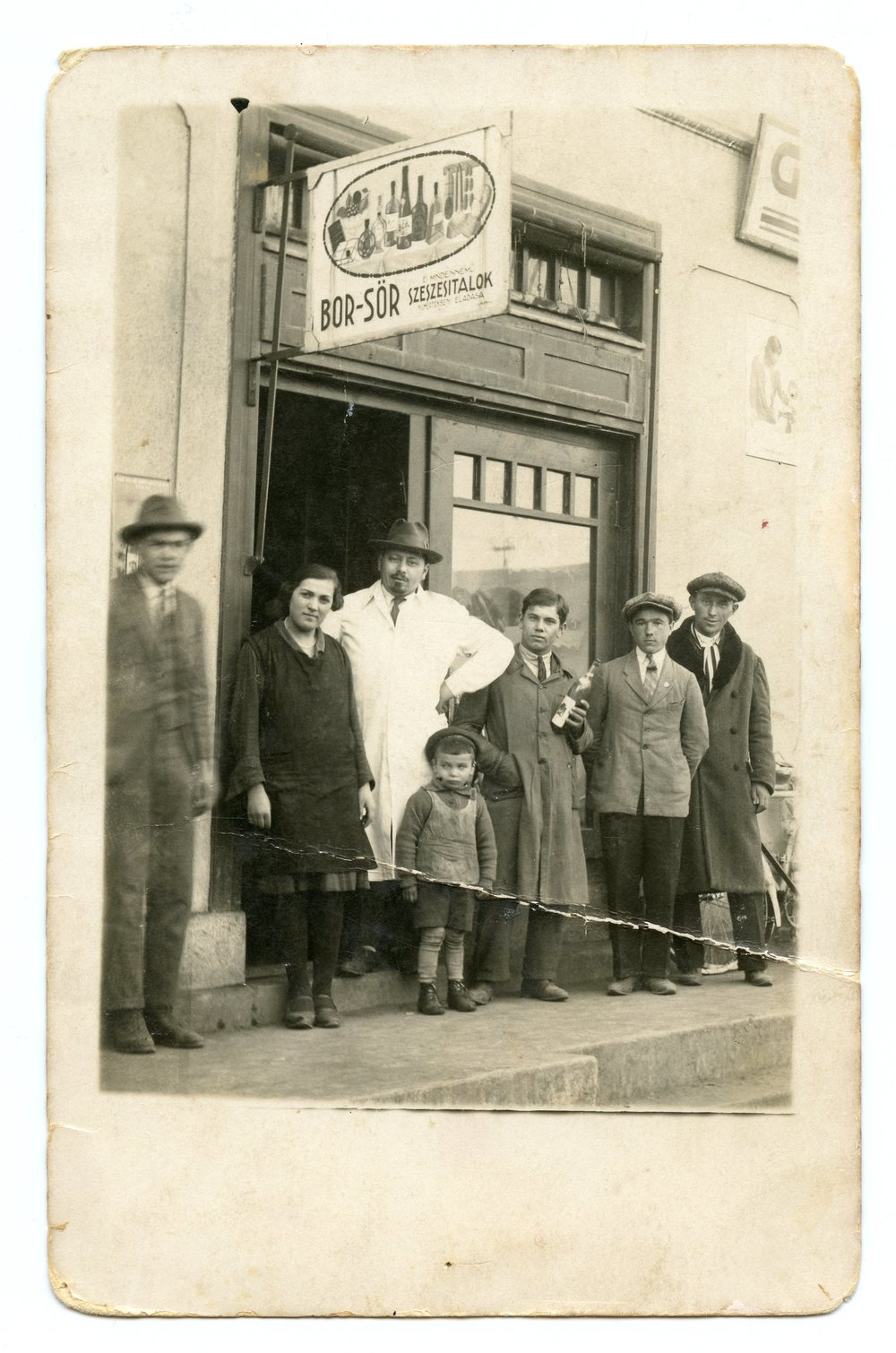 Copy of 1930 - Agnes' father and brother in front of the family shop, Hungary