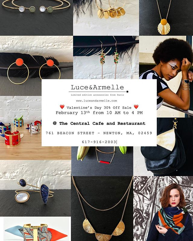 ❤️Looking forward to seeing you at our Valentine's Day Sale ❤️@centralcafeandrestaurant in Newton MA on February 13th from 10 AM to 4 PM and enjoy a 30% discount #luceandarmelle #madeinfrance #madeinparis #limitededition #fashionaccessories #customjewelry #centralcafeandrestaurant