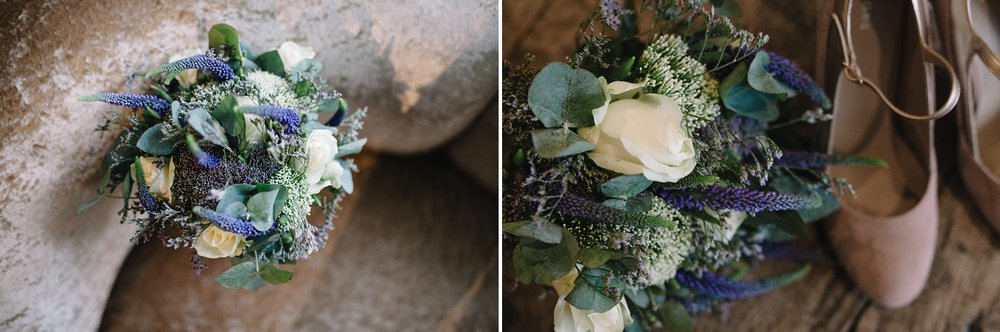 close up of wedding flowers and wedding shoes