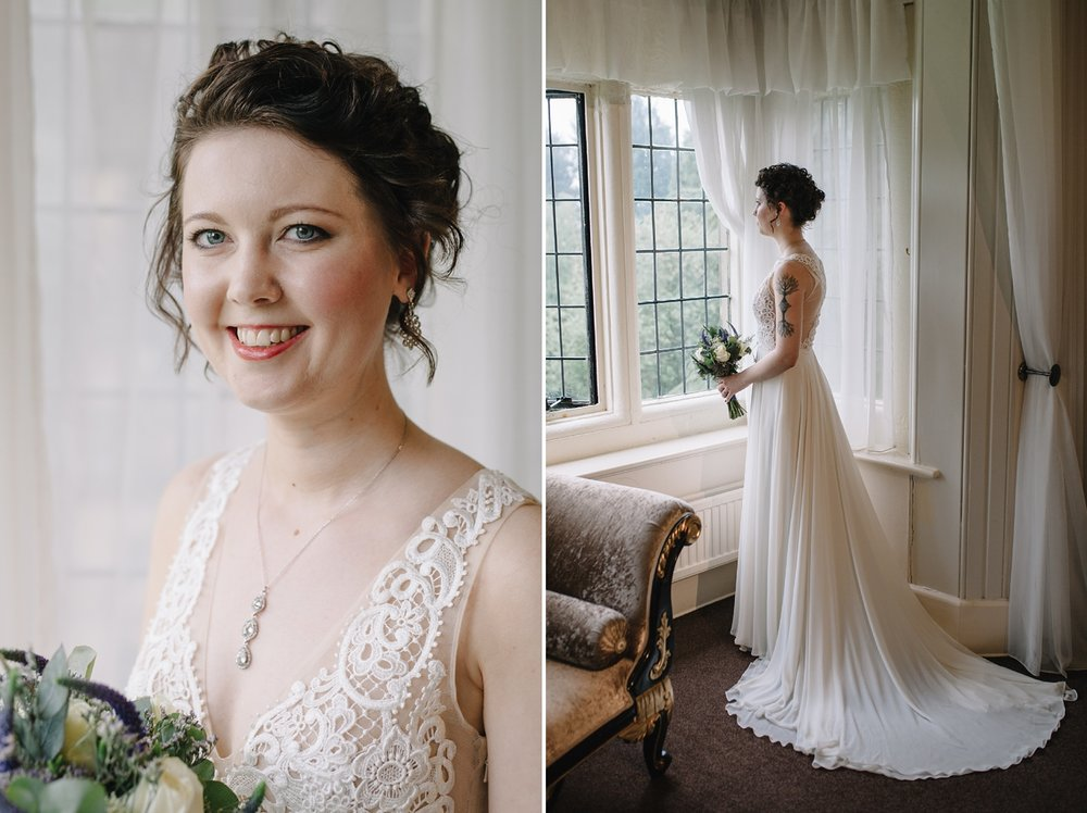 bridal portraits of bride with full length look at her gorgeous lace dress