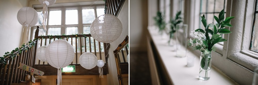 paper lanterns hung from stairs at Whirlowbrook hall