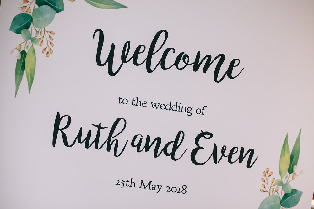 welcome to the wedding of ruth and even sign