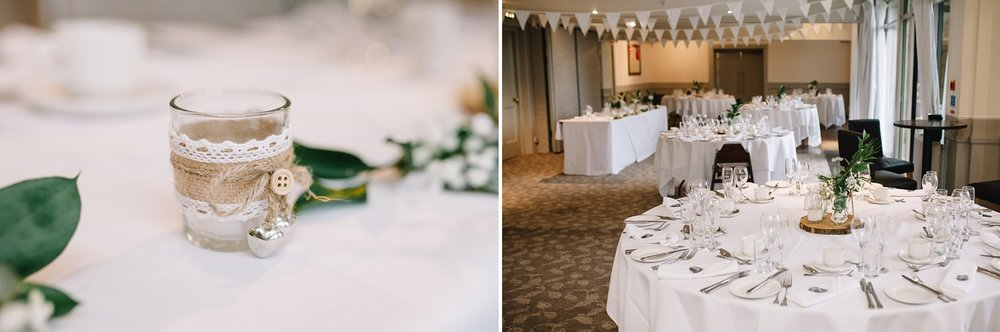shot of the whole room and fern decor at Whirlowbrook hall