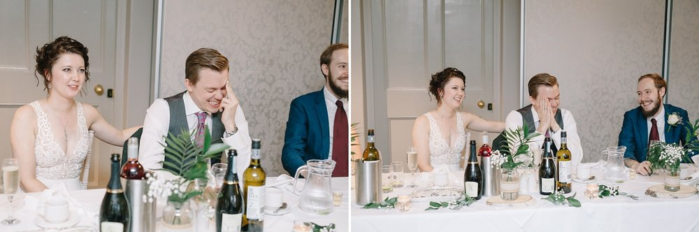 groom laughing at sisters embarrassing speech