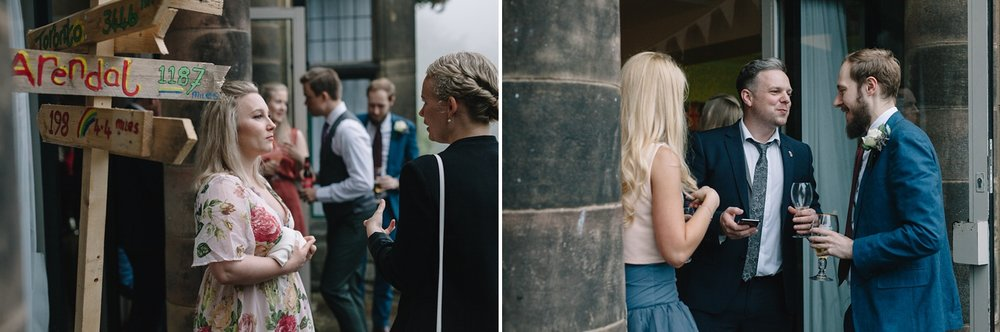 candid photos of guests outside at Whirlowbrook Hall