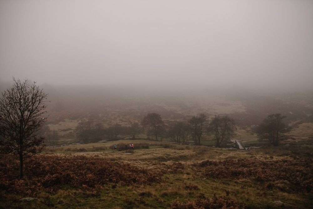 foggy autumn landscape of Padley Gorge Sheffield