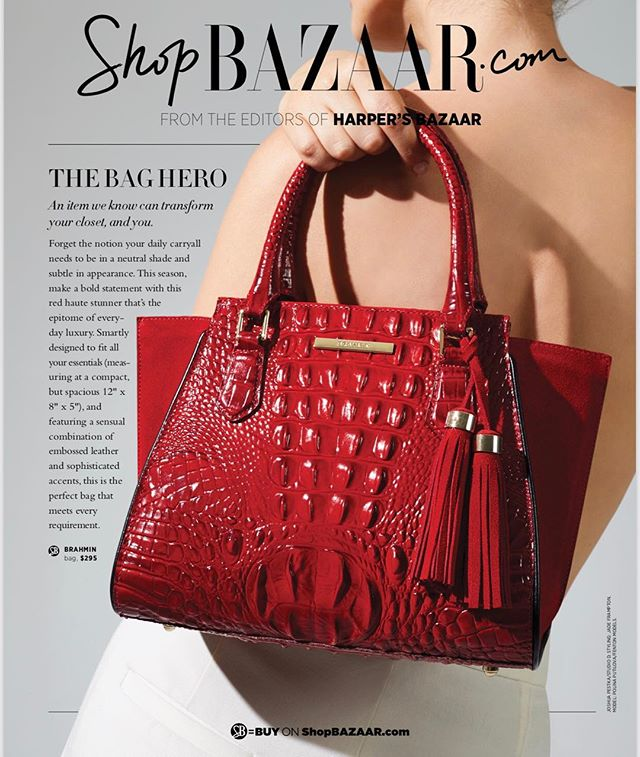 The bag hero @brahmin on @shopbazaar by #photographer @joshua.pestka giving us #luxe feels. ❤️