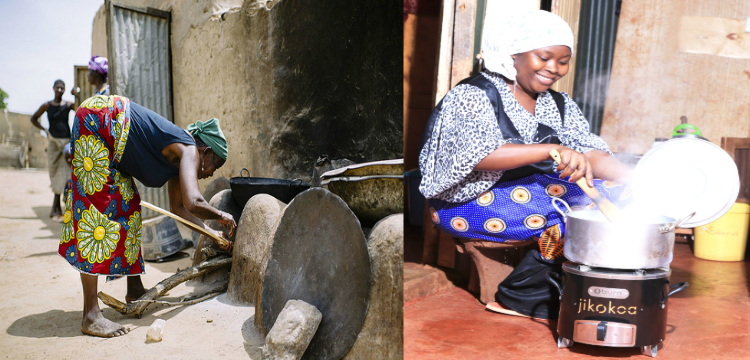 Cooking in open fire vs. cooking with an improved cookstove.