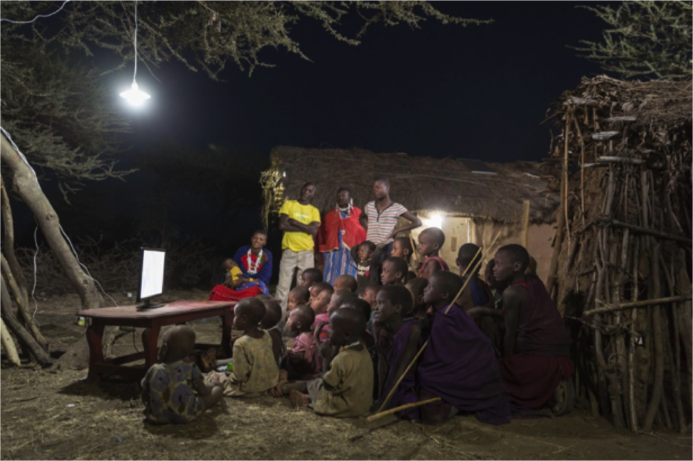 The Omondis and neighbors enjoying power time.