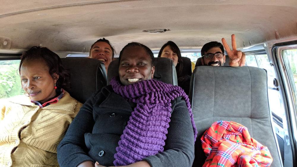 Photo: Members of the Savings Platform Team,  Kushirikiana Kueneza Akiba (KKA),  enjoy a matatu ride to their community host's house.