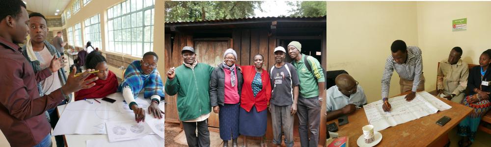 "The Micro Forestry team ""Msitu Ni Fedha"": Eva kebadile (Botswana), Galdys Kinya (Kenya), Ismael Matipa (Tanzania), Frank Matovu (Uganda) with the support of organizers Eric Wachira and Peter Linus. Design Facilitator: Claudine Chen (Ireland)."
