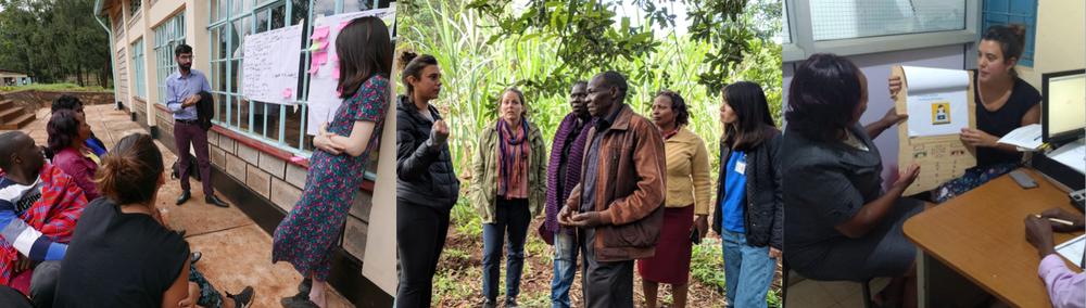 "The Savings Platforms team ""Chama Kuza"": Bancy Wamjiru (Kenya), Penina Mayabi (Kenya), Asuka Uesaka (Japan), Ali Muhammad Tahir (Pakistan), Mercedes Bidart (Argentina). Design Facilitator: Nickson Nyakambi (Kenya)."
