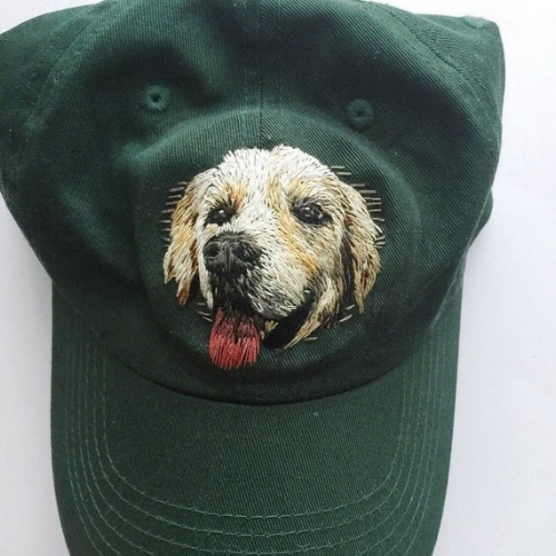 Canvas Hats - I love being able to embroider on articles of clothing or accessories that are wearable. These pet portrait hats are a hit with people because you can take your best friend with you everywhere! Tip: It's easier to work on a hat with a small 3 or 4 inch embroidery hoop to stabilize the fabric!