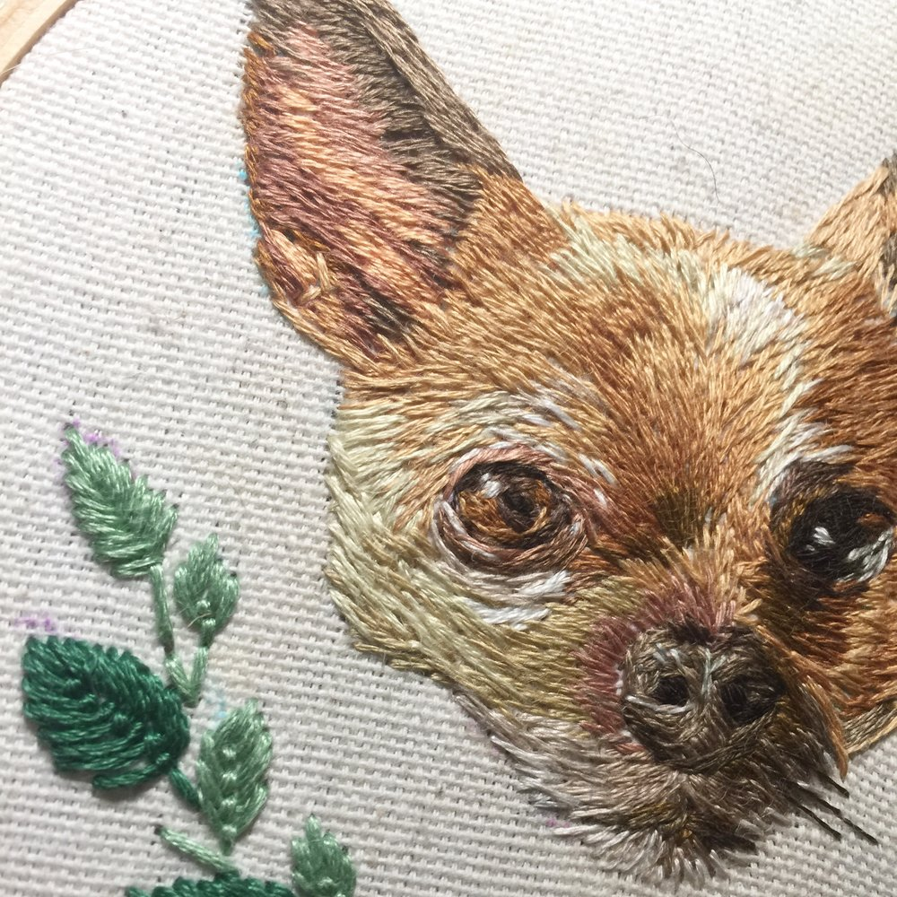 Custom Pet Portrait Embroidery -