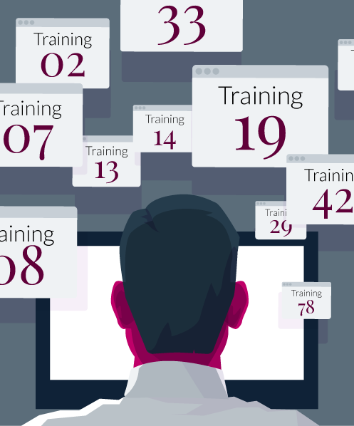 Illustration representing a busy training schedule - compliance training