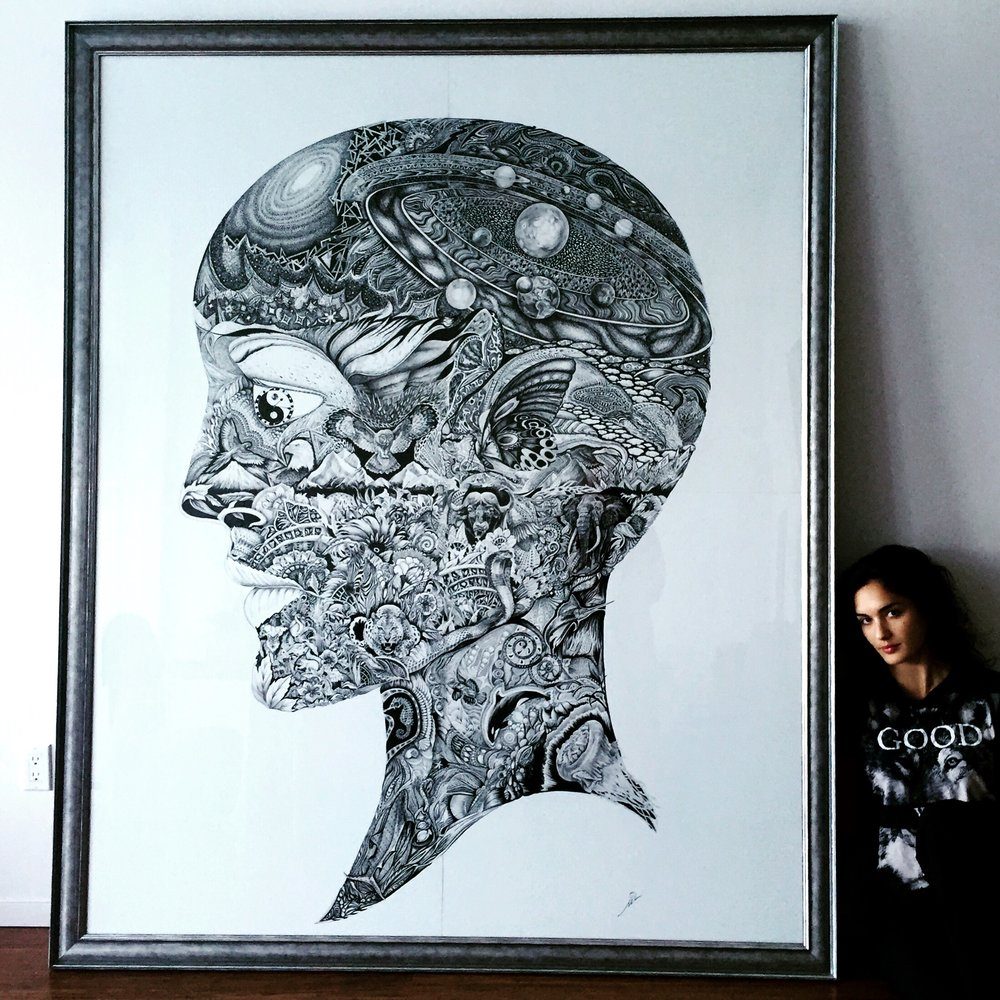 "MIlana Blackman with her artwork ""Mother Nature"""