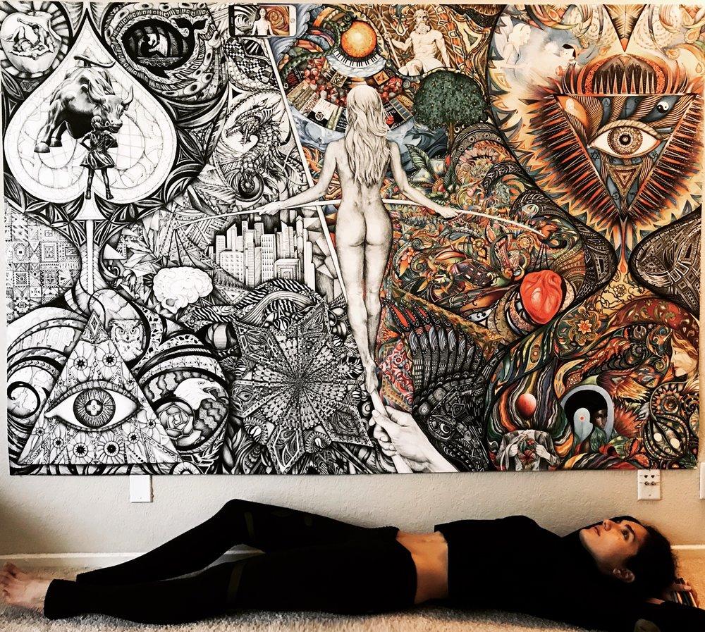 "Milana Blackman having just completed her artwork ""Beyond Good & Evil"""