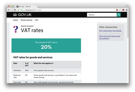 GOV.UK - VAT rates page