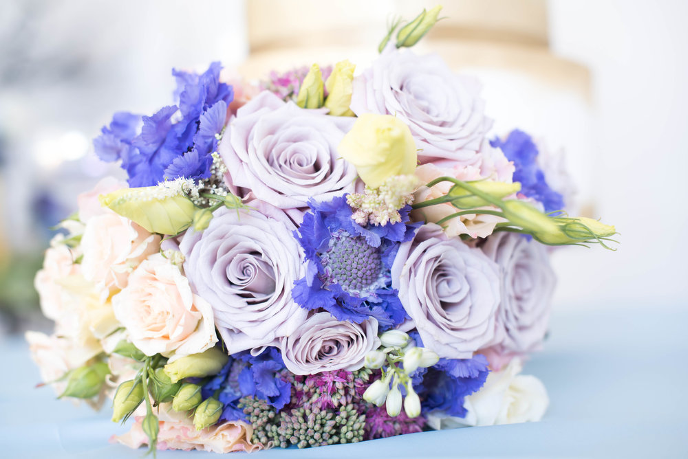 Blue Lavender blush Wedding Bouquet